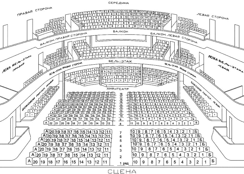 Чехова, схема зала