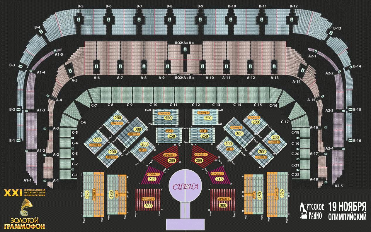 СК Олимпийский, схема зала